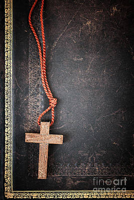 Necklace Photograph - Christian Cross On Bible by Elena Elisseeva