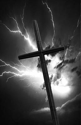 Photograph - Christian Cross With Lightning by Bob Pardue