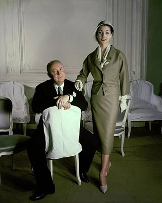 Dior Photograph - Christian Dior With Model Renee by Henry Clarke