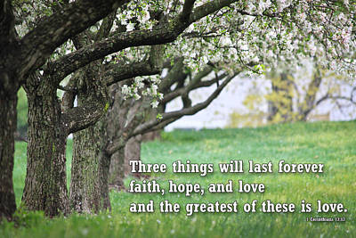 Faith Hope And Love Photograph - Christian Posters With Bible Verse by Raja Bandi