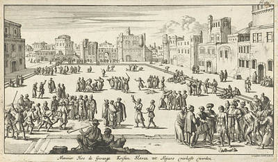 Slaves Drawing - Christian Prisoners Are Sold On A Square In Algiers by Jan Luyken And Jan Claesz Ten Hoorn