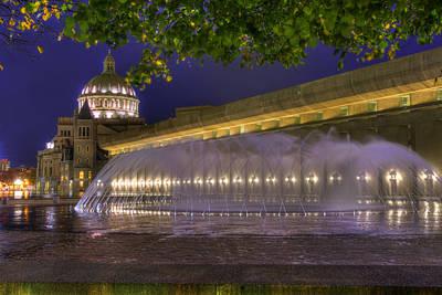 Summer Photograph - Christian Science Center Fountain - Boston by Joann Vitali