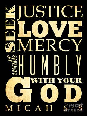 Micah Digital Art - Christian Scriptural Bible Verse - Micah by Joy House Studio