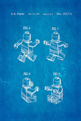 Lego Photograph - Christiansen Lego Figure 3 Patent Art 1979 Blueprint by Ian Monk