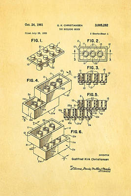 Lego Photograph - Christiansen Lego Toy Building Block Patent Art 1961 by Ian Monk
