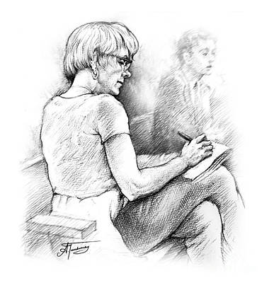 Art Print featuring the drawing Christie Blatchford In Court by Alex Tavshunsky