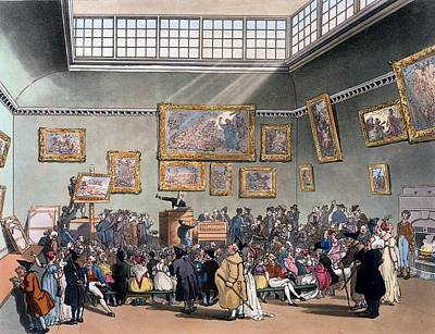 Microcosm Drawing - Christies Auction Room, Illustration by T. & Pugin, A.C. Rowlandson