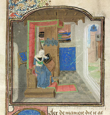 Christine De Pisan In Her Study Art Print by British Library