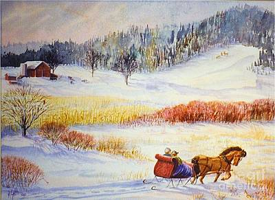 Winter Scenes Painting - Christine's Ride by Marilyn Smith