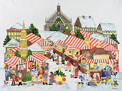 Stall Painting - Christmas Market by Christian Kaempf