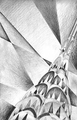 Chrysler Building Drawing - Christler Building by Kyle Walker