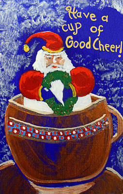 Santa Claus Painting - Christmas 022 'cup Of Cheer' by Gregory Otvos