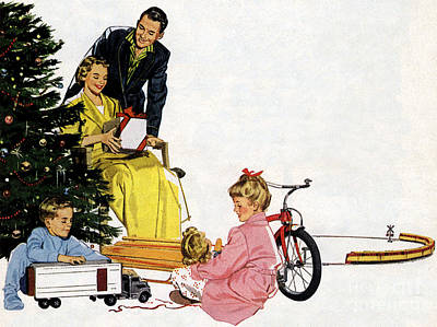 Mixed Media - Christmas 1940 50s Style Vintage Classic Poster by R Muirhead Art