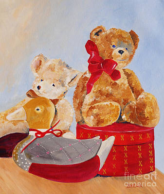Boy With Teddy Painting - Christmas Greeting by Barbara Moak