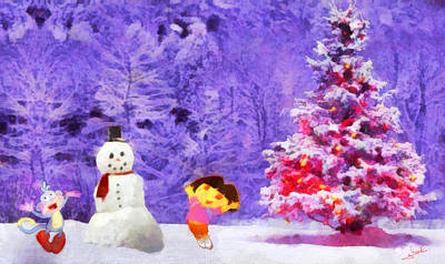 Animation Painting - Christmas And Dora by George Rossidis