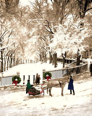 Invitations Painting - Christmas And Snow On Boston Commons In The 1870s by Elaine Plesser