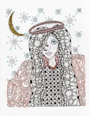 Zia Drawing - Christmas Angel by Paula Dickerhoff