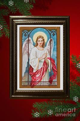 Print featuring the digital art Christmas Angel Art Prints Or Cards by Valerie Garner