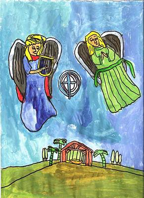 Drucker Painting - Christmas Angels by Artists With Autism Inc