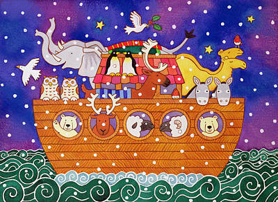 Noah Painting - Christmas Ark by Cathy Baxter