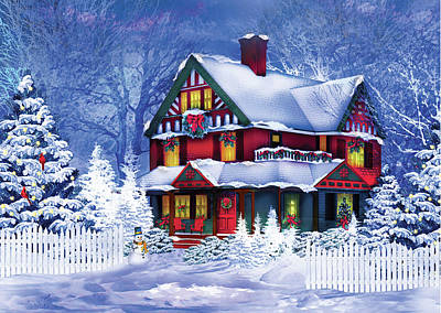 Winter Landscape Painting - Christmas At Home II by P.s. Art Studios