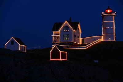 Christmas At Nubble Art Print by Andrea Galiffi