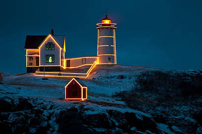 Christmas At Nubble Light Art Print