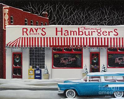 Primitive Folk Art Painting - Christmas At Ray's Diner by Catherine Holman