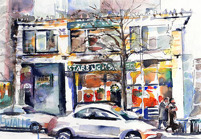Store Fronts Painting - Christmas At Starbucks by Lola Waller
