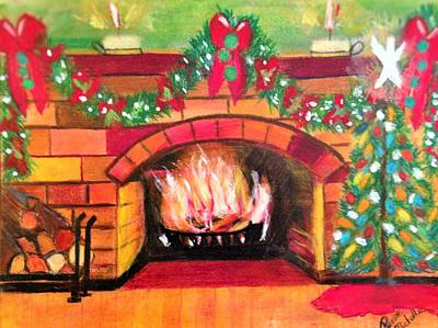 Painting - Christmas At The Cabin by Renee Michelle Wenker
