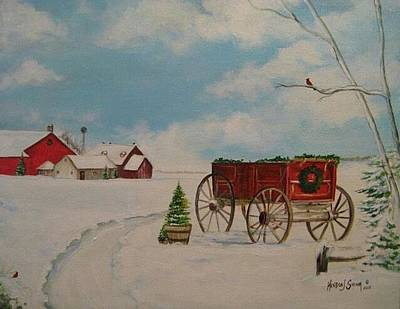 Painting - Christmas At The Farm by Kendra Sorum