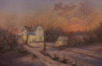 Snow Scene Painting - Christmas At The Farm by Tom Shropshire