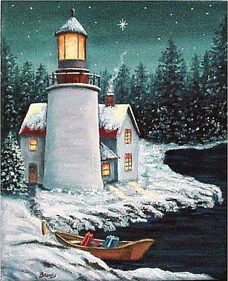 Christmas At The Light Art Print