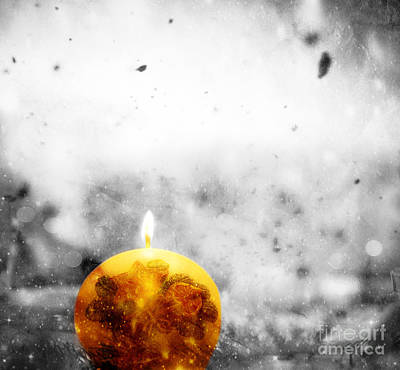Card Photograph - Christmas Ball Candle Lights On Winter Background by Michal Bednarek