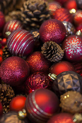 Photograph - Christmas Balls And Pine Cones by Amber Kresge