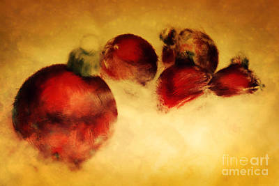 Perfect Christmas Card Painting - Christmas Balls Artistic Vintage Painting by Michal Bednarek