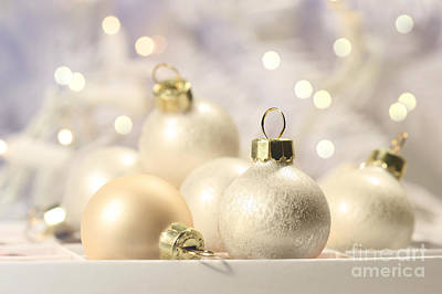 Photograph - Christmas Balls On Abstract Background  by Sandra Cunningham