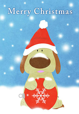 Dogs Digital Art - Christmas Barks I by South Social Studio