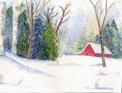 Christmas Barn Art Print by Janet Kane