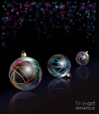 Christmas Baubles Reflected Art Print by Jane Rix