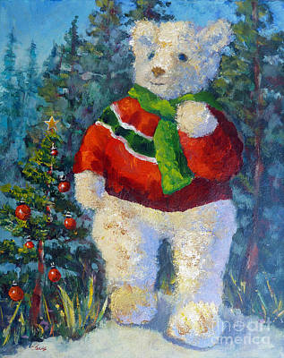 Painting - Christmas Bear In Woods by Carolyn Jarvis
