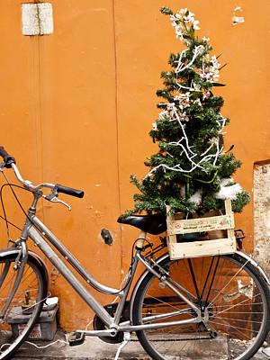 Christmas Bicycle Art Print by Rae Tucker