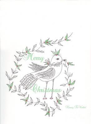 Berry Drawing - Christmas Bird by Nancy TeWinkel Lauren