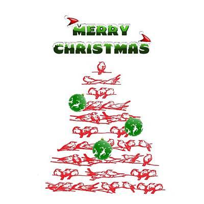 Digital Art - Christmas Bird Tree by Florene Welebny