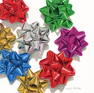 Holiday Drawing - Christmas Bows by Sarah Batalka