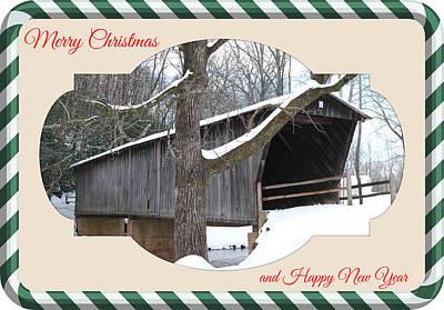 Covered Bridge Mixed Media - Christmas Bridge by Eric Liller