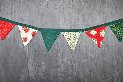 Cotton Paper Photograph - Christmas Bunting by Tom Gowanlock