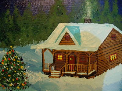 Painting - Christmas Cabin by Daniel Nadeau
