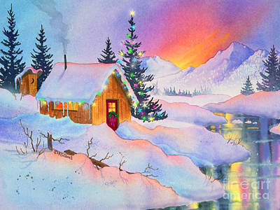 Friendly Digital Art - Christmas Cabin by Teresa Ascone