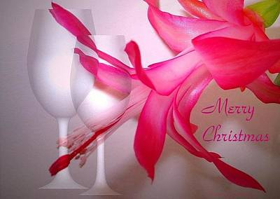 Photograph - Christmas Cactus And Two Glasses - Merry Christmas by Joyce Dickens